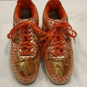 Nike Air Force 1 Orange/Gold/Polkadot size 8.5